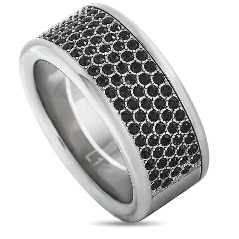 Calvin Klein Hook Stainless Steel and Black Crystal Ring Size 11