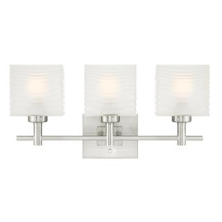 "Westinghouse 6304000 Alexander 23"" Wide 3 Light Bathroom Vanity Light with Glass Shades - Brushed nickel"