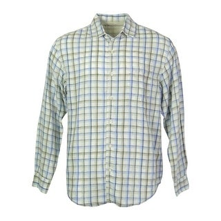 Caribbean Men's Linen Blend Front Buttoned Shirt