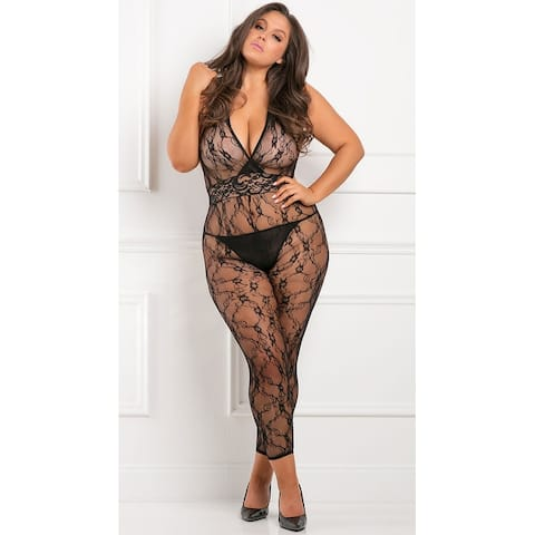 Plus Size Lacy Moves Bodystocking - Black - One Size Fits Most