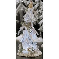 "Pack of 4 Icy Crystal Illuminated Christmas Forest House Figurines 9.6"" - CLEAR"