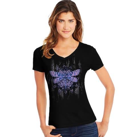 Hanes Women's Dragonfly Mandala Short-Sleeve V-Neck Graphic Tee - Color - Dragonfly Mandala/Black - Size - M