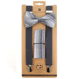 3pc Men's Charcoal Banded Suspenders, Stripes Bow Tie and Hanky Sets - One Size Fits most