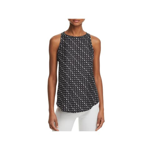 Theory Womens Petites Racer 2 Tank Top Silk Printed