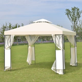Costway 2-Tier 10'x10' Gazebo Canopy Tent Shelter Awning Steel Patio Garden Beige Cover