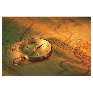 """Compass on map"" Poster Print"