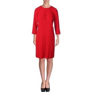 DKNY Womens Pleated 3/4 Sleeves Wear to Work Dress