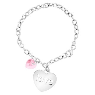 Crystaluxe Charm Bracelet with 'Love' Charm & Swarovski Crystal in Sterling Silver - Pink