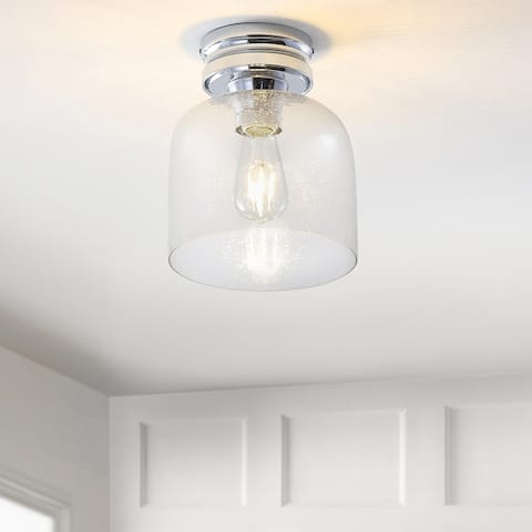 """Domenic 7.75"""" Metal/Bubbled Glass LED Flush Mount, Chrome by JONATHAN Y - Silver"""