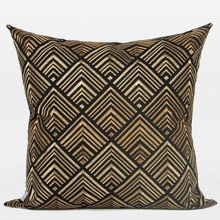 "G Home Collection Luxury Black and Gold Geometry Pattern Embroidered Pillow 20""X20"""