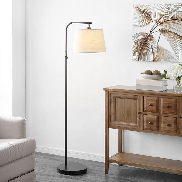"Safavieh Lighting 65-inch Winley Black Adjustable LED Floor Lamp - 20.5"" W x 13"" L x 58-65"" H. Opens flyout."