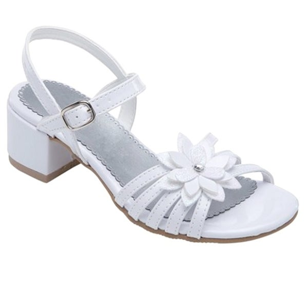 Shop Rachel Shoes Little Girls White Flower Accent Strappy Sandals - Free  Shipping On Orders Over  45 - Overstock.com - 23089521 598fed0f8af7