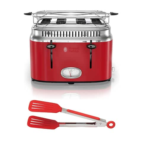 Russell Hobbs 4-Slice Stainless Steel Retro Toaster (Red) with Tongs