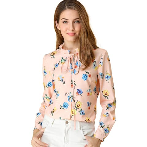 Women's Tie Ruffled Neckline Polka Dots Long Sleeves Floral Blouse Tops