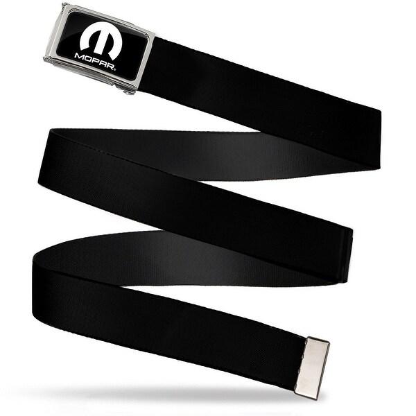 Mopar Logo Fcg Black White Chrome Black Webbing Web Belt