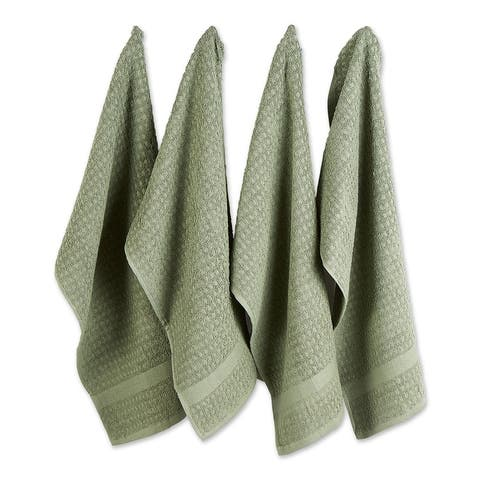 DII Solid Terry Waffle Dishtowel Set of 4