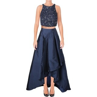 Adrianna Papell Womens Crop Top Dress 2PC Beaded