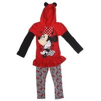 Minnie 2 Piece Red Hoodie Sweater w/ Leopard Leggings - red/leopard - 6