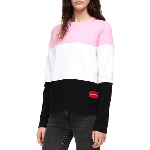 Calvin Klein Jeans Womens Sweatshirt, Crew Fleece Pullover - M