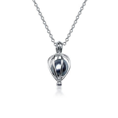 Bridal Teardrop Black Freshwater Cultured Pearl Bird Caged Pendant Necklace For Wedding For Women 925 Sterling Silver - 18