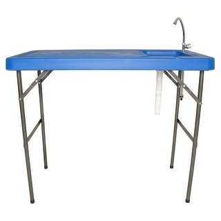 Zenvida Outdoor Folding Fish and Game Cleaning Table with Quick Disconnect Faucet & Drain