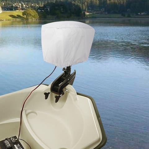 Gymax Grey 600D Polyester Waterproof UV Resistant Outboard Motor Hood