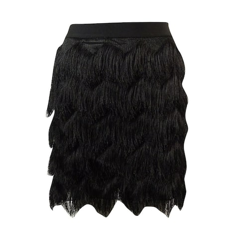 Studio M Women's Chevron Fringed Mini-Skirt - Black - XS