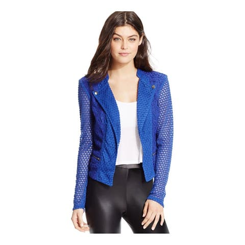 Material Girl Womens Illusion-Sleeve Motorcycle Jacket, Blue, XX-Small