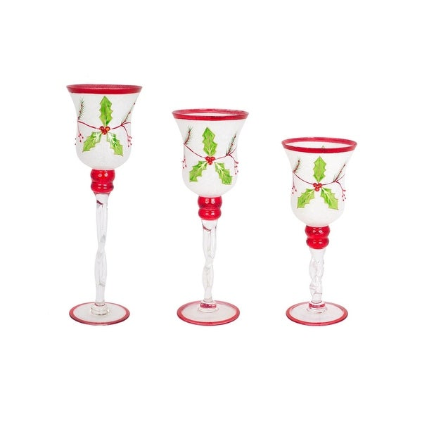 "Set of 3 Decorative Glass Holly Candle Holders Christmas Decoration 15.75"" - RED"