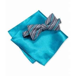 Alfani Blue Men's One Size Cedar Stripe Bow Tie & Pocket Square Set