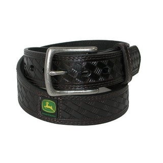 John Deere Boys' Leather Basket Weave Belt with Removable Buckle - Brown