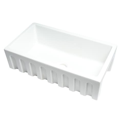 """White 33"""" x 18"""" Reversible Fluted / Smooth Single Bowl Fireclay Farm Sink"""