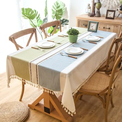 """Enova Home 54""""x 78"""" High Quality Rectangle Cotton and Linen Tablecloth with Tassels"""