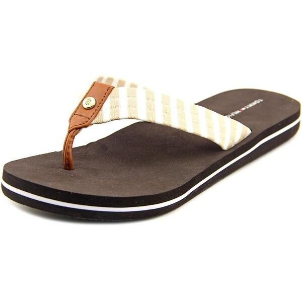 Tommy Hilfiger Cicin-x Women  Open Toe Canvas Brown Flip Flop Sandal