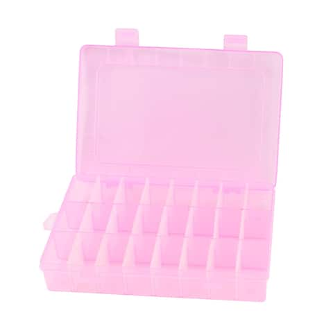 Unique Bargains Pink Plastic Adjustable 24 Slots Storage Tool Box Jewelry Case Craft Organizer