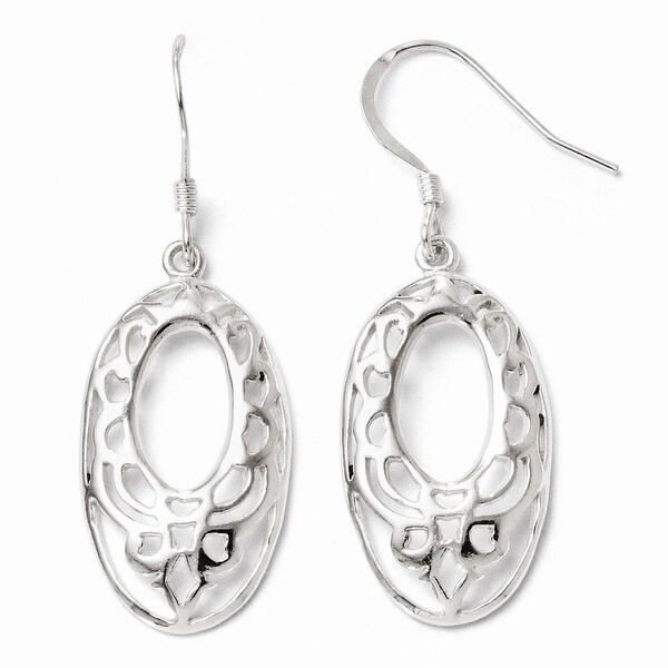 Sterling Silver Polished Shepherd Hook Dangle Earrings