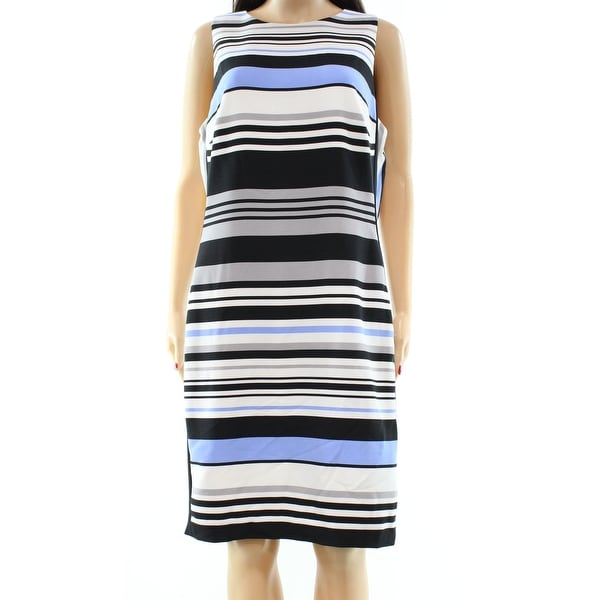 Lauren Ralph Lauren NEW Blue Womens Size 10 Striped Crepe Sheath Dress