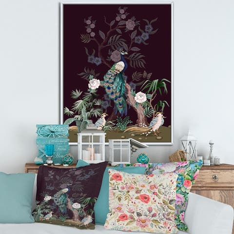 Designart 'Chinoiserie With Birds and Peonies V' Traditional Framed Canvas Wall Art Print