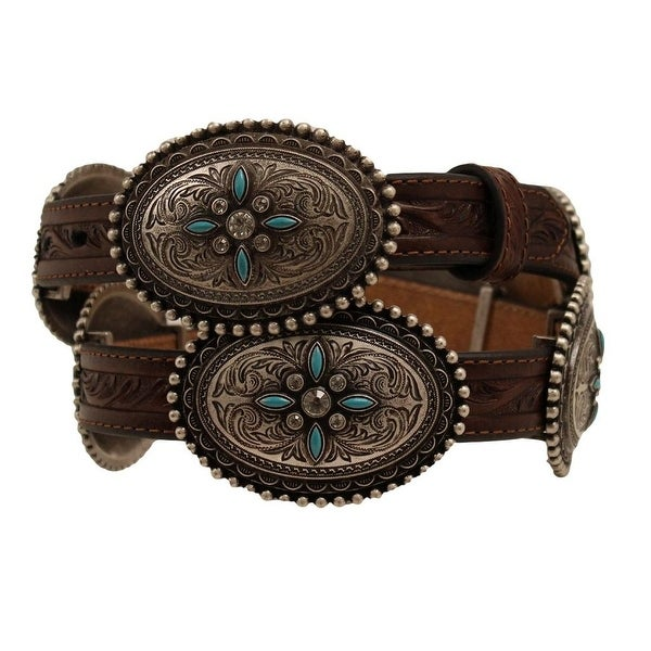 "Ariat Western Belt Womens Conchos Stone Leather 3/4"" Brown"