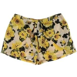 JOA Womens Flat Front Floral Print Casual Shorts - M