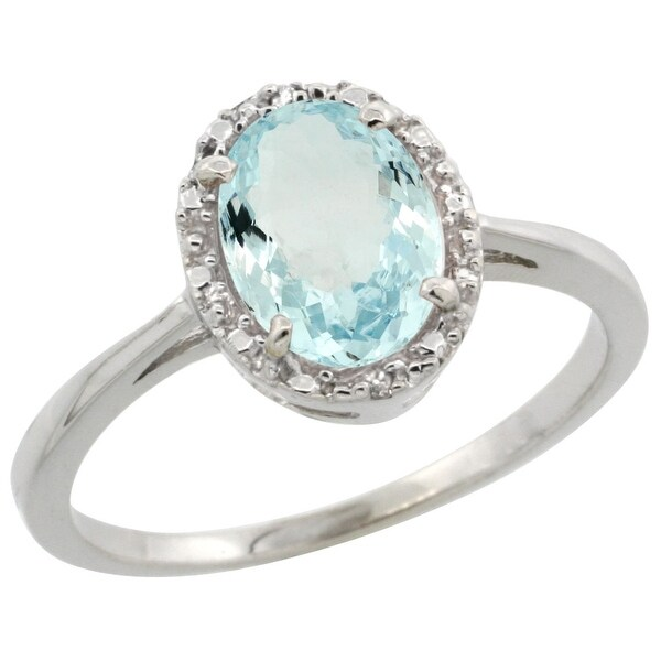 Shop 14K White Gold Natural Aquamarine Ring Oval 8x6 Mm