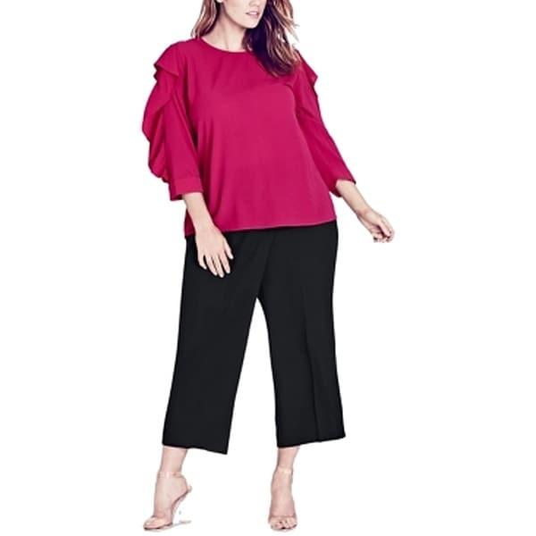 City Chic Womens Blouse Magenta Pink Size XL Plus Ruffle Button Back