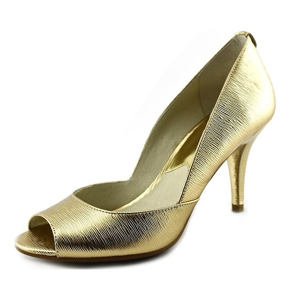 Michael Michael Kors Nathalie Open Toe Women Peep-Toe Leather Gold Heels