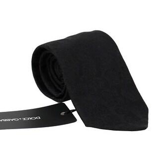 Dolce & Gabbana Black Silk Patterned Tie - One Size