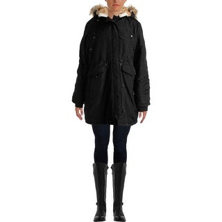 Steve Madden Womens Faux Fur Hooded Parka - L