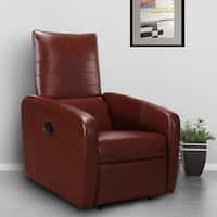 Costway Manual Recliner Chair Contemporary Foldable-Back Leather Reclining Chair Sofa - Dark brown