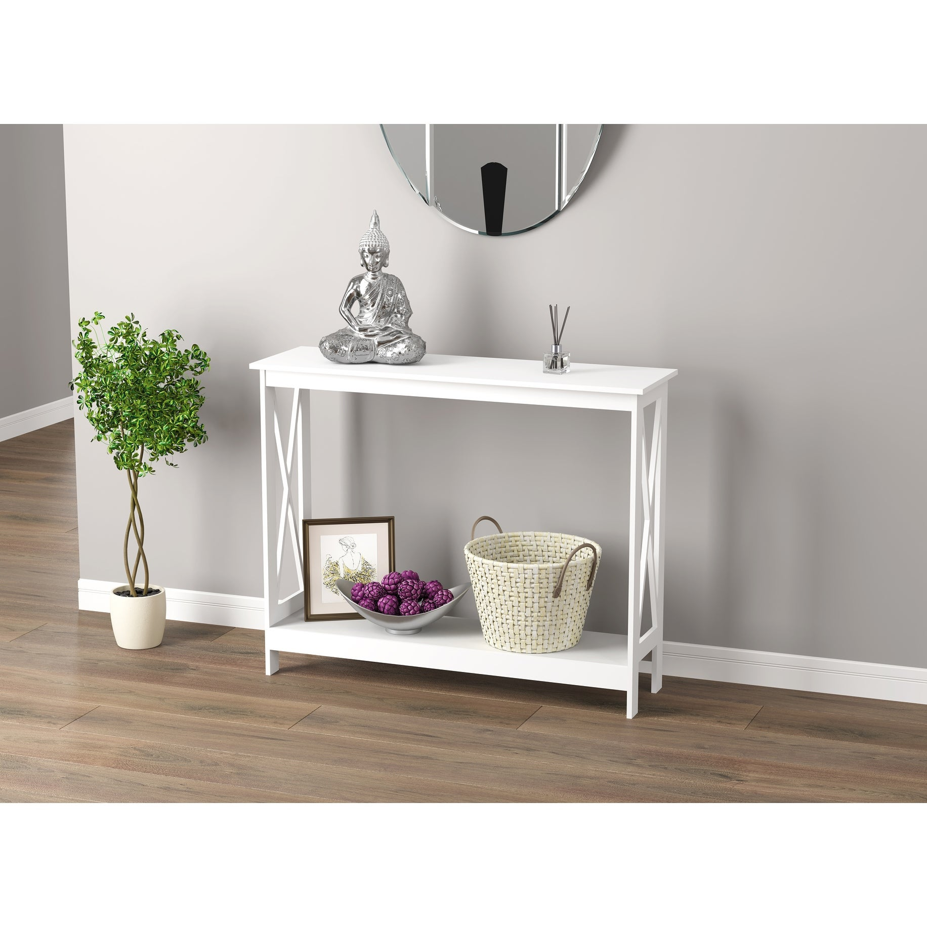 Console Table 39 5l White 1 Shelf 39 5 X 11 75 X 31 5 Overstock 31748735