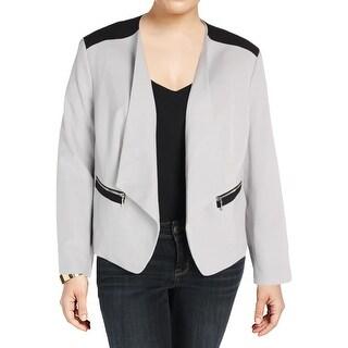 Nine West Womens Plus Open-Front Blazer Colorblock Long Sleeves - 22W
