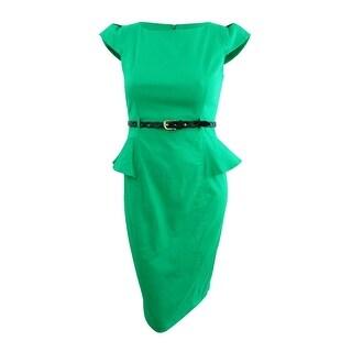 Xoxo Juniors' Cap-Sleeve Peplum Sheath Dress (15/16, Emerald) - Emerald - 15/16