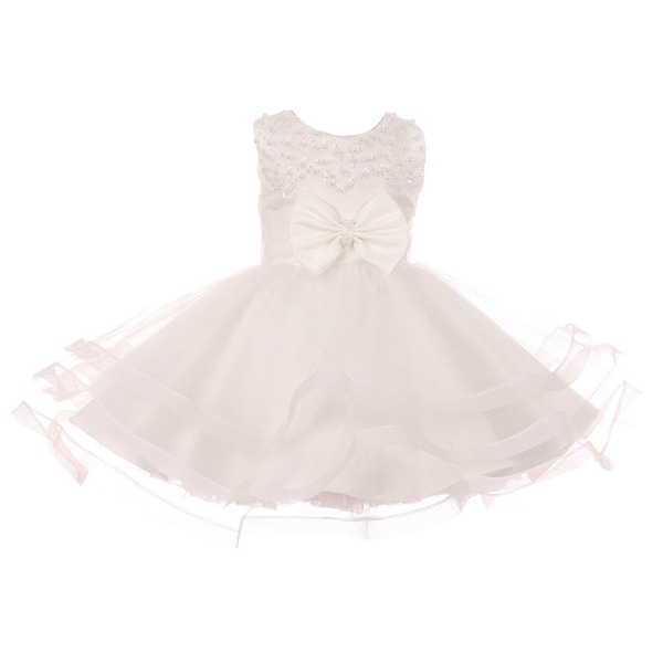 Baby Girls White Pearl Sequin Bow Adorned Tapered Flower Girl Dress